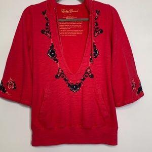Lucky Brand Embroidered Sweatshirt Hoodie Sz L
